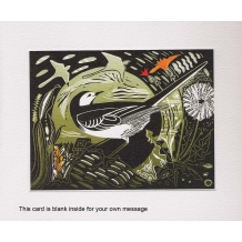 """""""Pied Wagtail"""", Linocut by Pam Grimmond"""