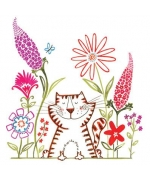 """Happy Garden Cat"" card by Helen Lang"