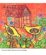 """Backyard chickens"" card by Sandra Krumins"