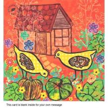 """Backyard chickens"" card by Sandra Krumins"