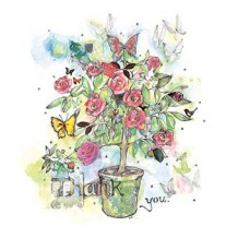 """Rosebuds and Butterflies"". Thank you card by Gabriella Dawnay"
