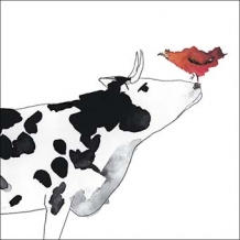 """Cow and Hen"" greeting card by Rachel Tudor Best"