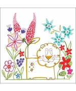 """Happy Garden Lion"" card by Helen Lang"