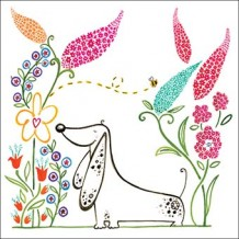 """Happy Garden Dog"" card by Helen Lang"