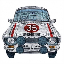"""Ford Escort Mk1-1973 Rally Car"". Card by Barry Goodman"