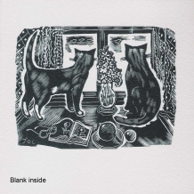 """Two Cats"", Card from a wood engraving by John O'Connor"
