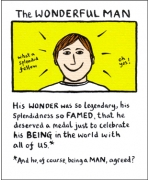 """The Wonderful Man"" Card by Edward Monkton"