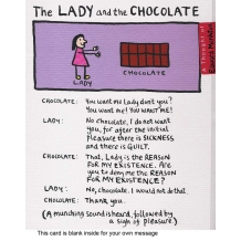 """The Lady and the Chocolate"" card by Edward Monkton"