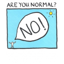 """Are You Normal?"" card by Edward Monkton"