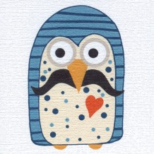 Moustache-owl greeting card by Helen Williams