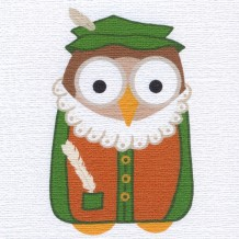 """Shakespeare-Owl,"" card by Helen Williams"