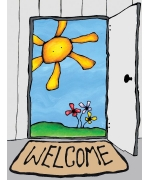 Welcome. Greeting card from Mr Feruson's world of whimsy