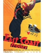 "East Coast Frolics No 2 ""Another perfect day"" says 'the Drier Side' shellback. card from National Railway  Museum poster"