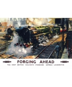 Forging Ahead, card from a National Railway Museum poster