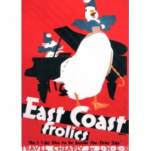 East Coast Frolics No 1  'I do like to be beside the-Drier Side' card from a National Railway Museum poster