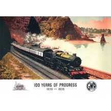 100 years of progress, GWR. King Charles II. Railway poster card