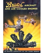 Bristol aircraft and air-cooled engines. Card from an advertising poster