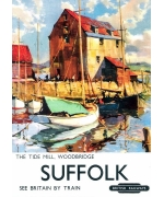 The Tide Mill, Woodbridge, Suffolk. Card from a ational railway museum poster